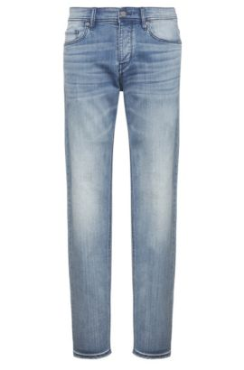 Tapered-fit jeans in a stretchy cotton blend: 'Orange90', Blue