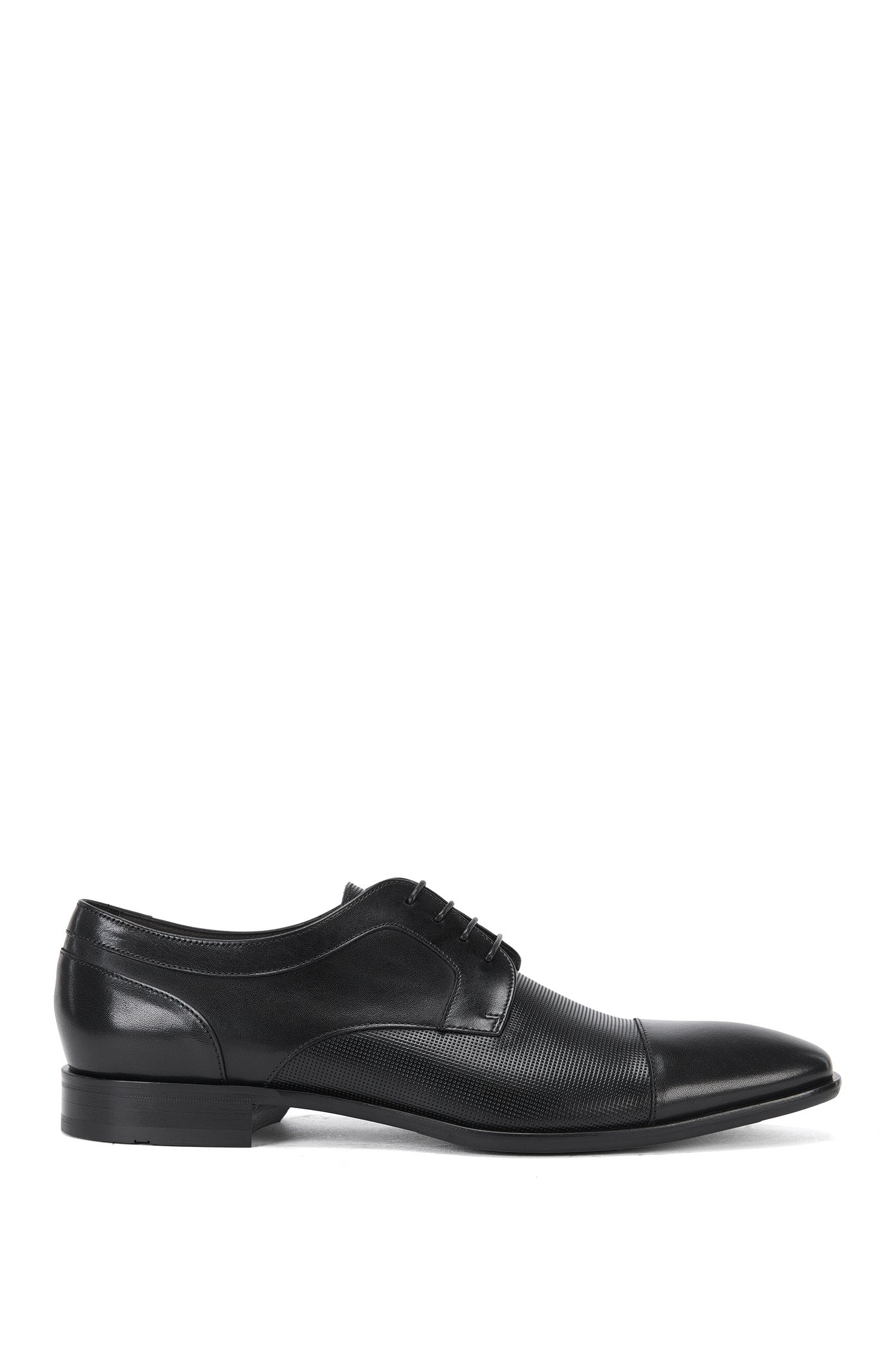 Leather lace-up shoes with partial embossing: 'Chelsea_Derb_prct'