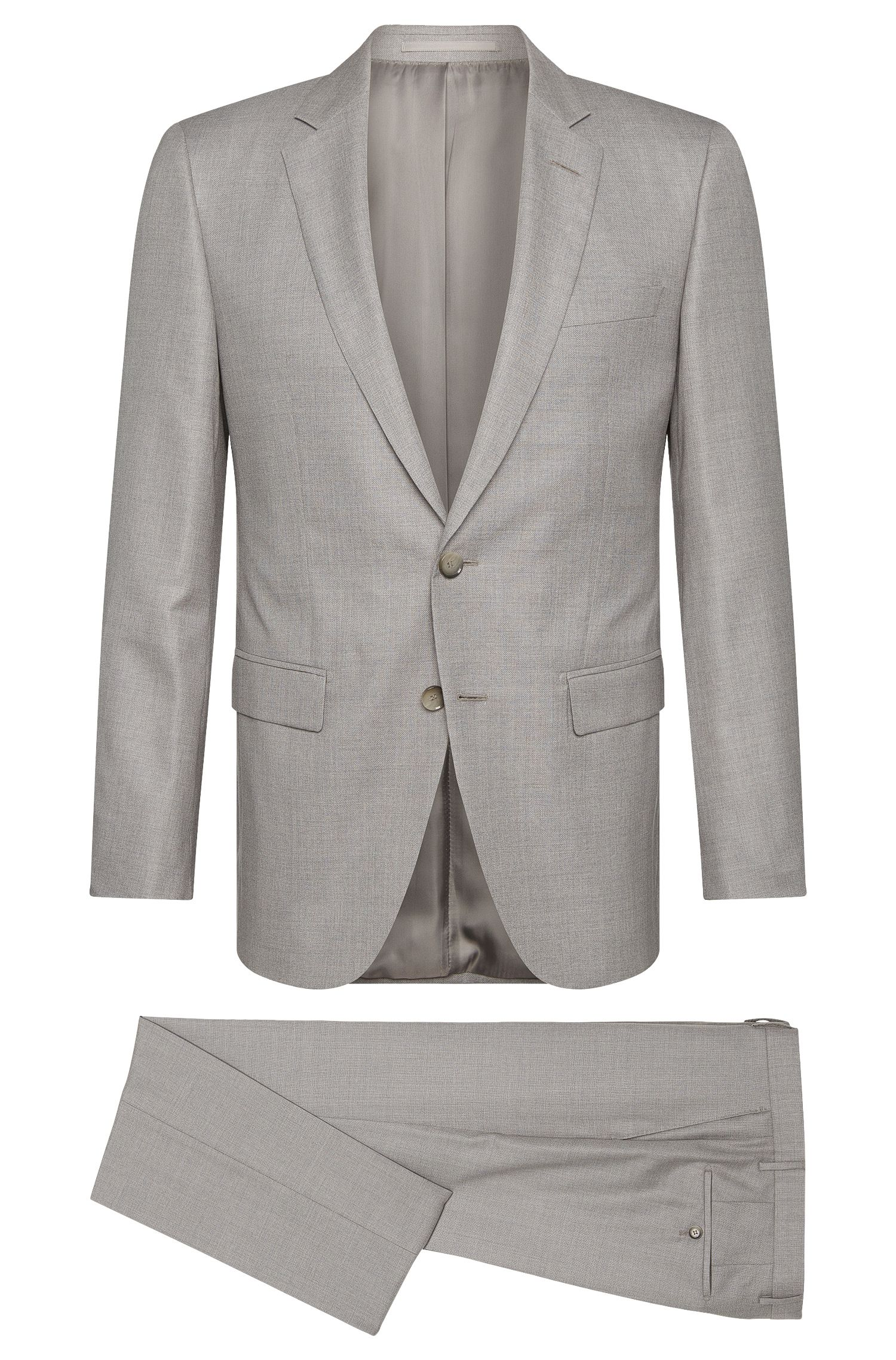 Slim-fit Tailored suit in new-wool blend with silk: 'T-Harvers2/Glover1'