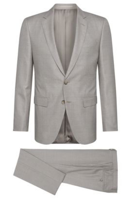 Slim-fit Tailored suit in new-wool blend with silk: 'T-Harvers2/Glover1', Silver