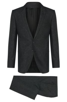 Extra slim-fit Tailored suit in new-wool blend with silk: 'T-Reeve1/Wain', Black