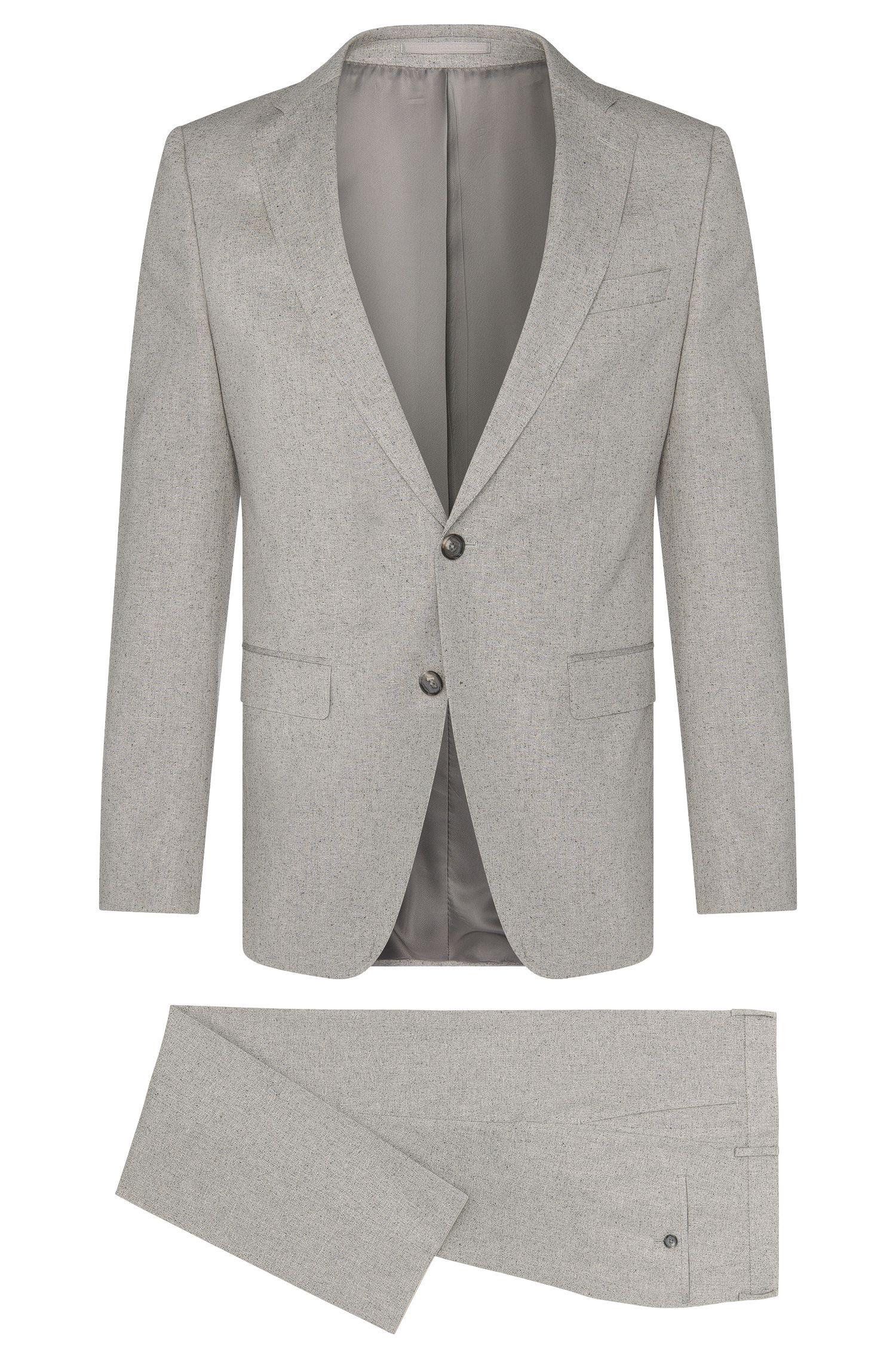 Fijngemêleerd, slim-fit kostuum van een katoenmix met zijde: 'Novan3/Ben'