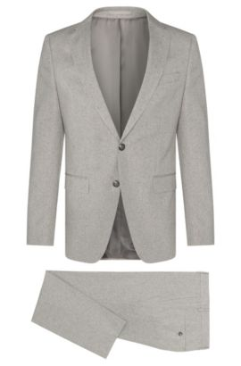 Fijngemêleerd, slim-fit kostuum van een katoenmix met zijde: 'Novan3/Ben', Zilver