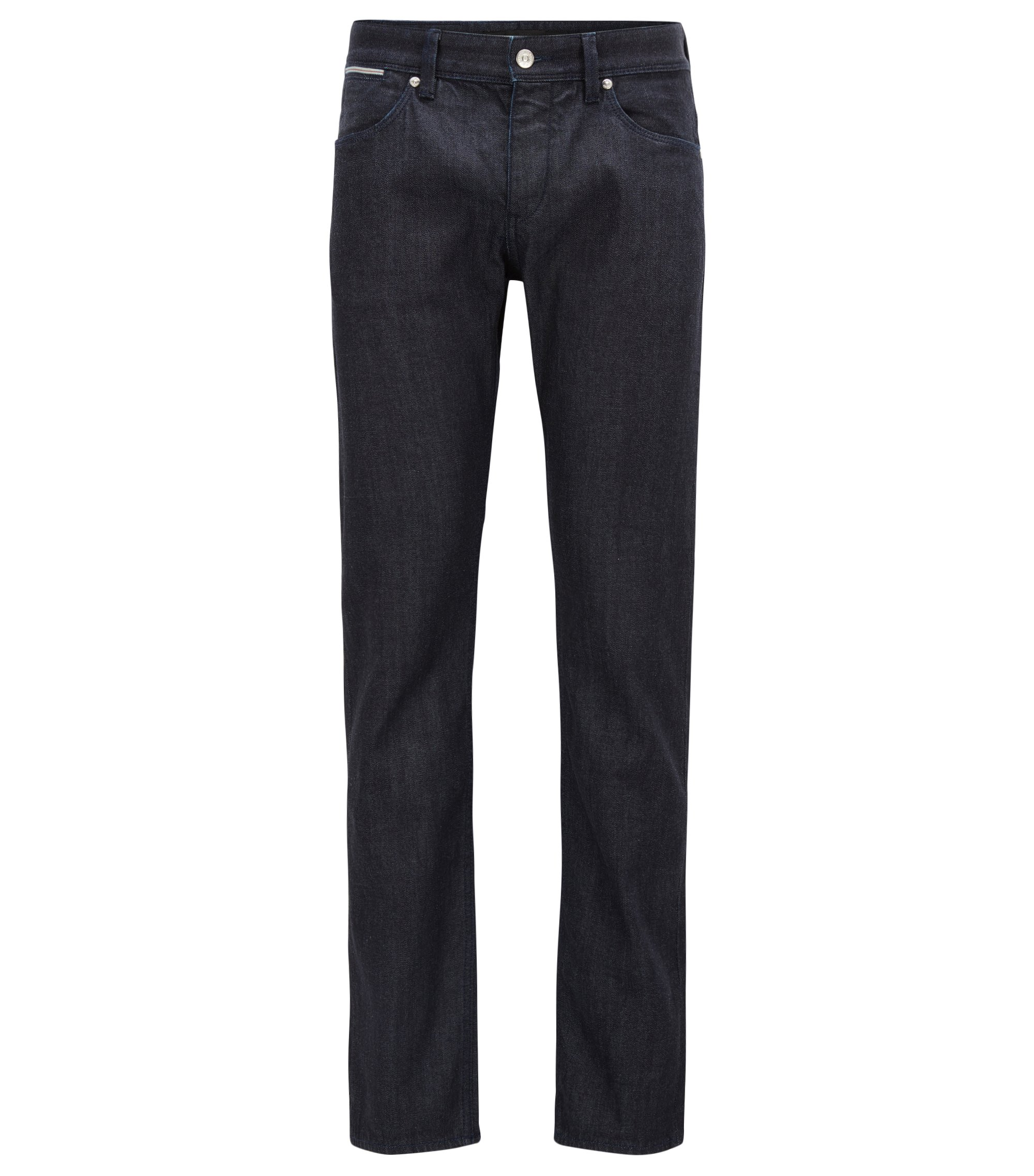 Jeans slim fit in denim elasticizzato con cimosa, Blu scuro