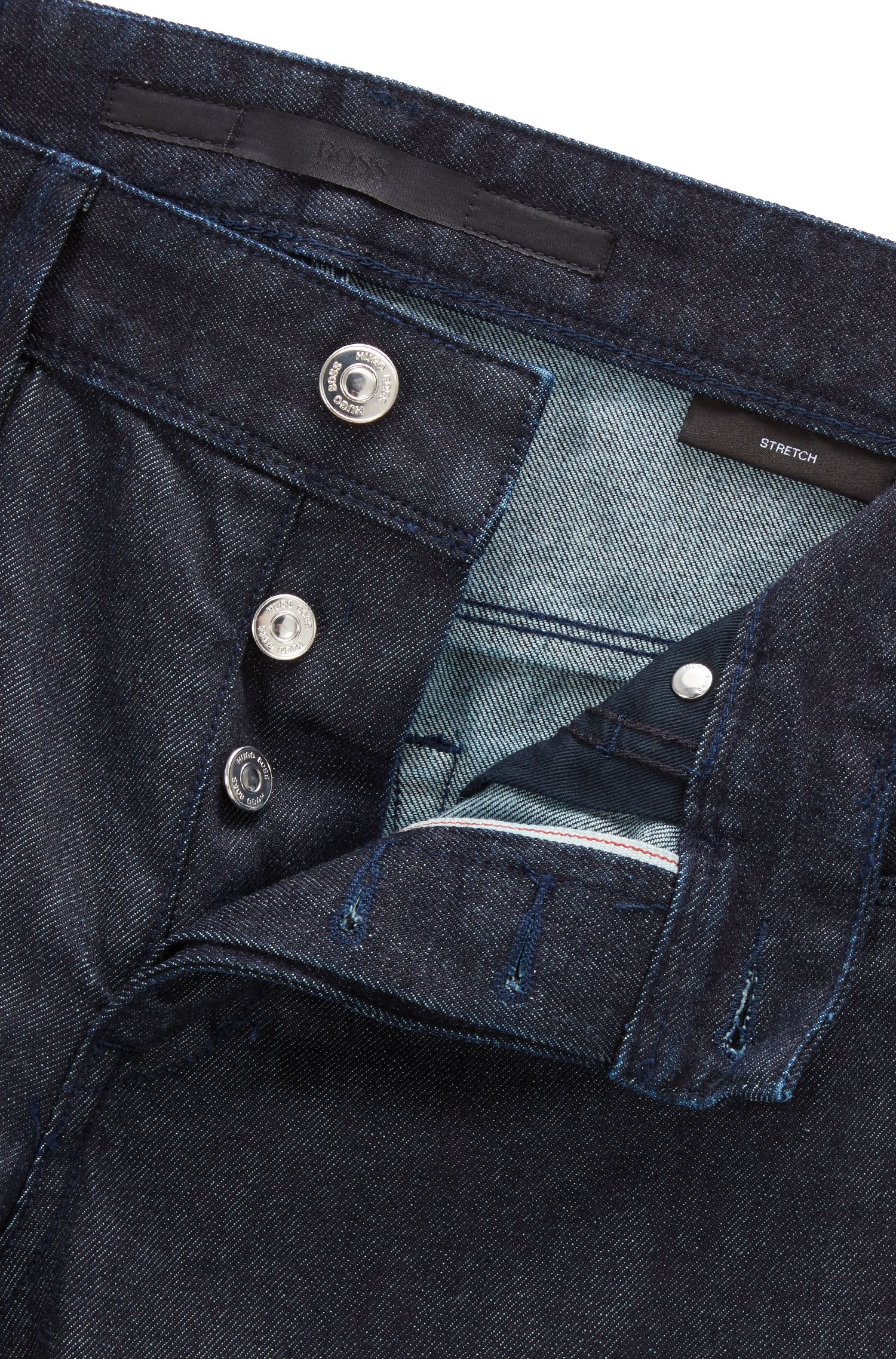 Slim-Fit Jeans aus elastischem Selvedge Denim, Dunkelblau