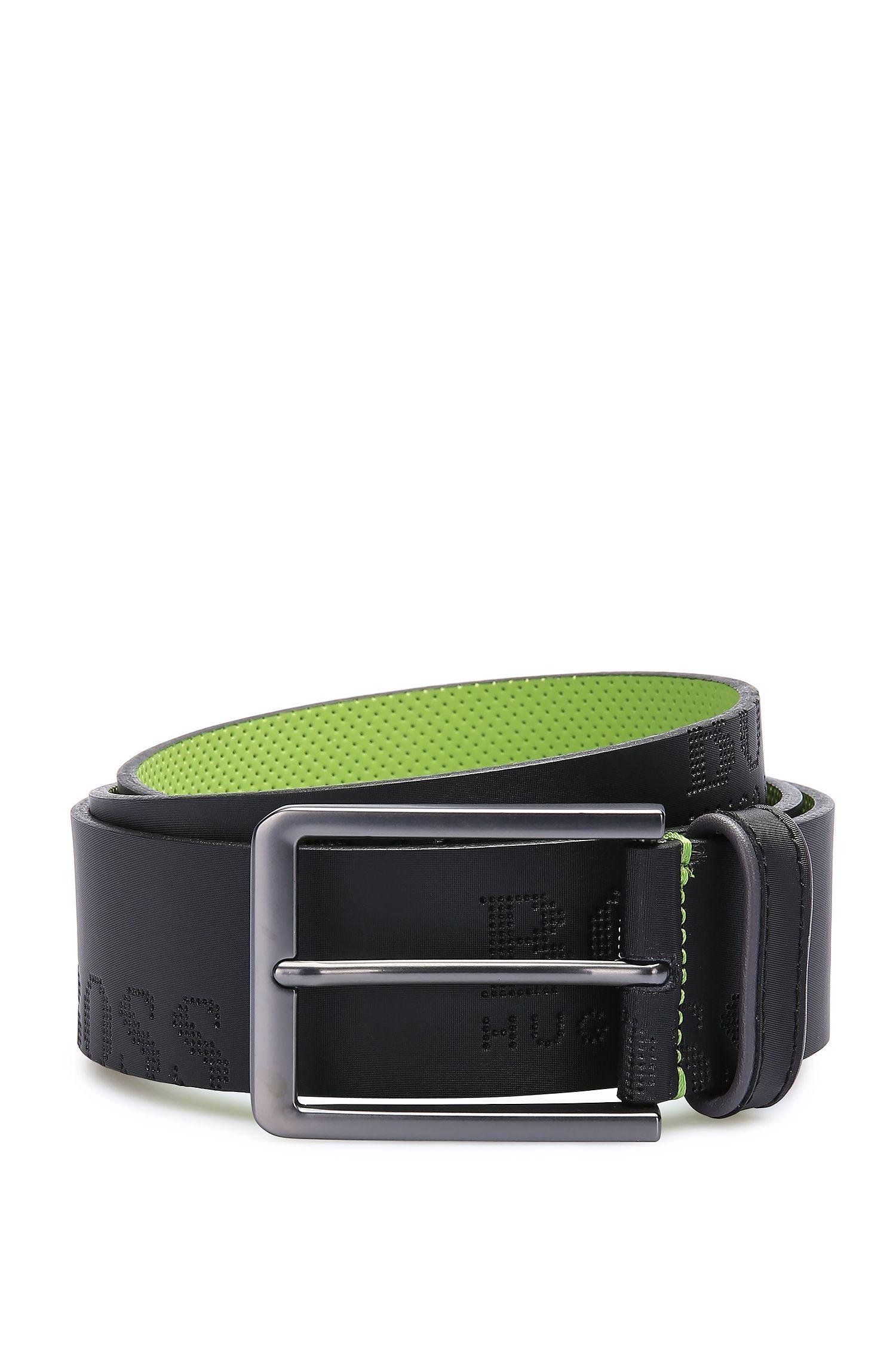 Cintura in pelle con logo goffrato