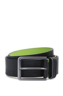 Cinturón de piel hecho a mano con etiqueta estampada: 'Millowo_Sz40_ltem', Negro