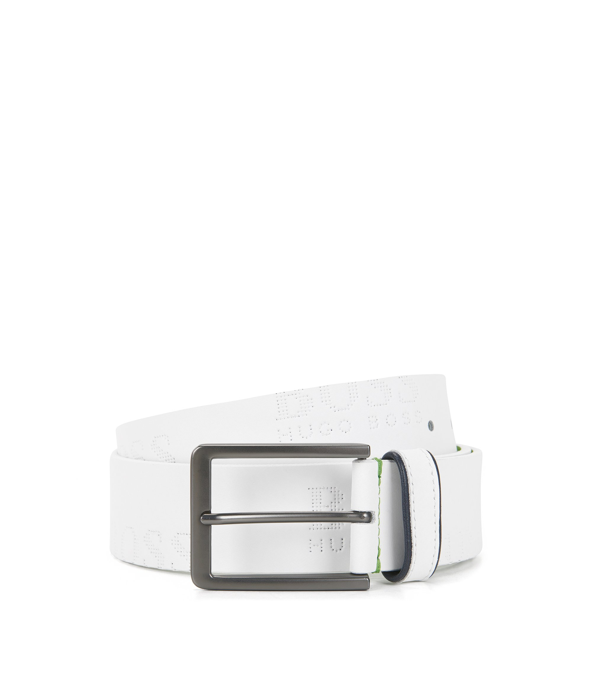 Leather belt with logo-embossed strap, White