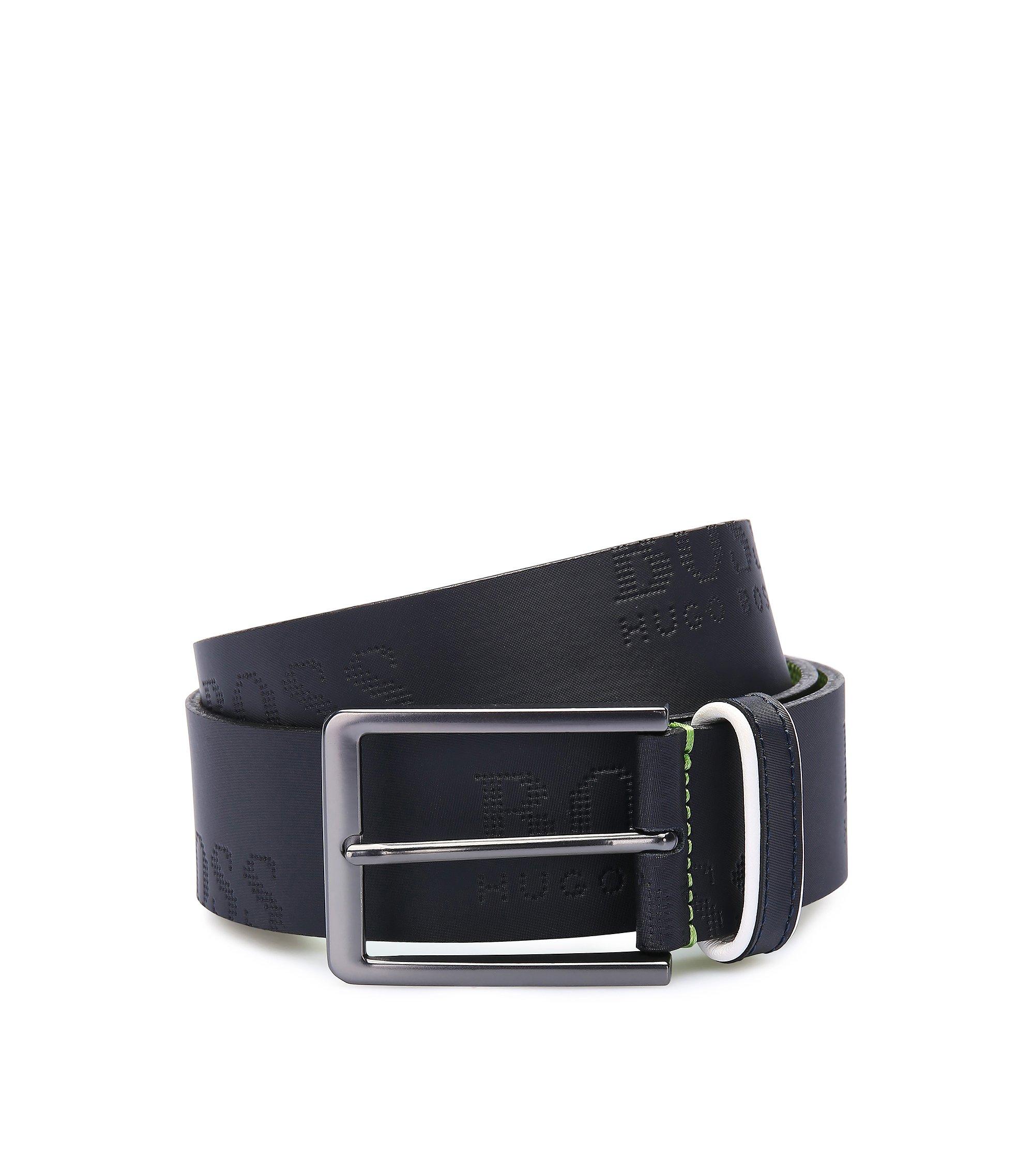 Cintura in pelle con logo goffrato, Blu scuro