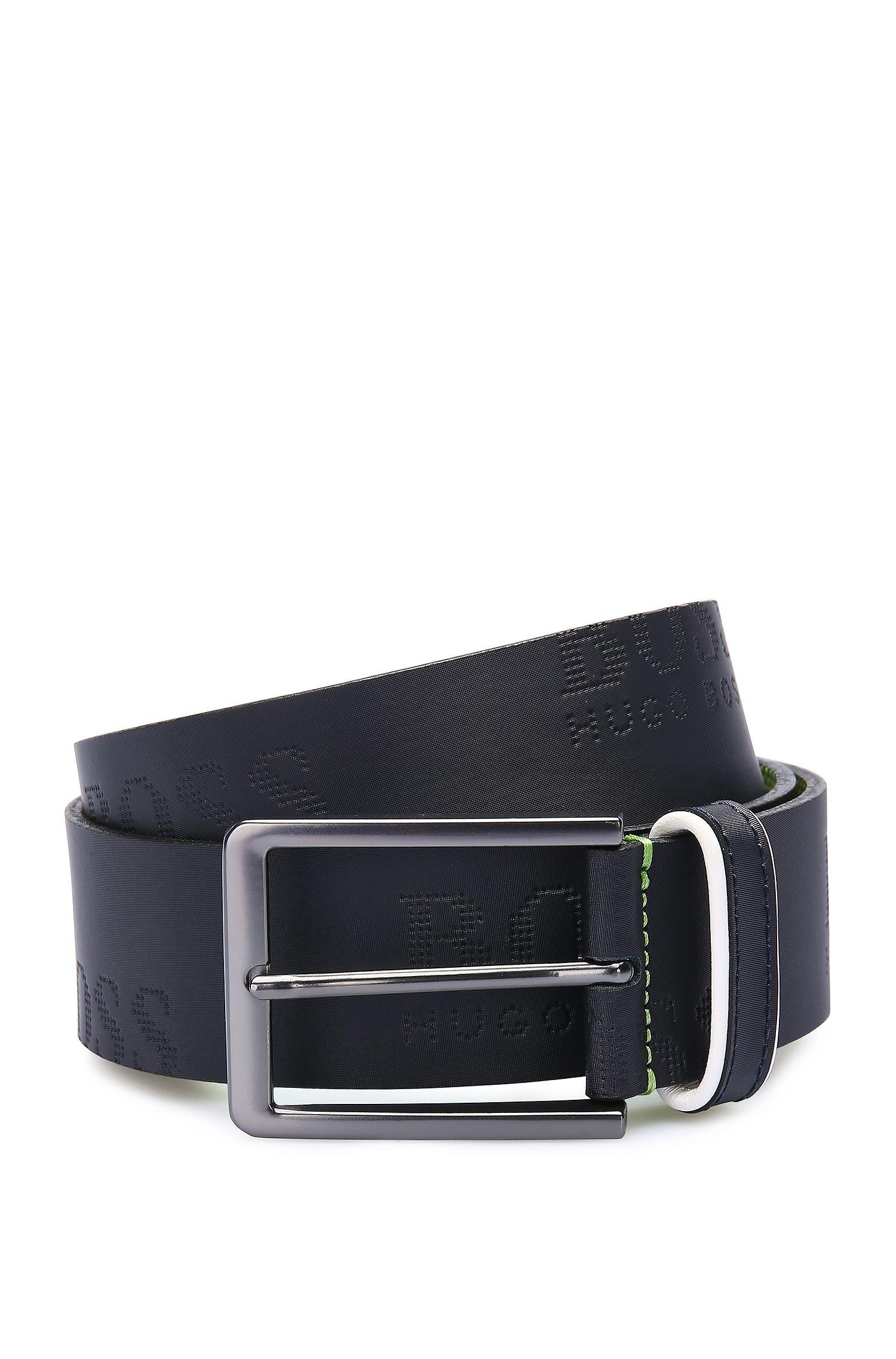 Cinturón de piel hecho a mano con etiqueta estampada: 'Millowo_Sz40_ltem'
