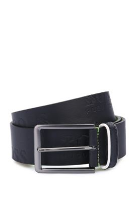 Leather belt with logo-embossed strap, Dark Blue