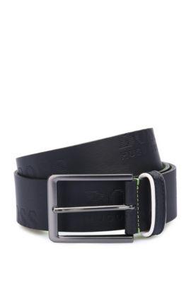 Cinturón de piel hecho a mano con etiqueta estampada: 'Millowo_Sz40_ltem', Azul oscuro