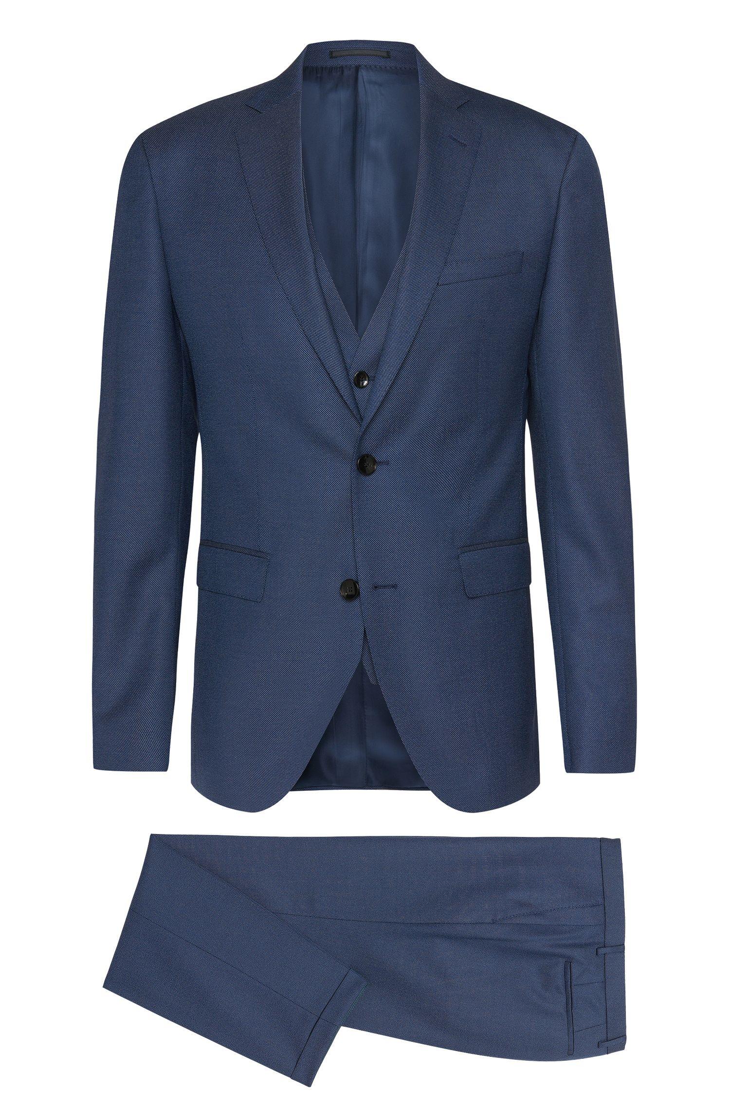 Extra Slim-Fit Anzug aus strukturiertem Schurwoll-Mix mit Seide: 'Reyno3/Wave1 WE'