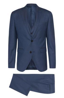 Traje extra slim fit en mezcla de lana virgen con textura: 'Reyno3/Wave1 WE', Azul oscuro