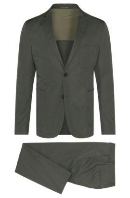 Slim-fit kostuum van katoen uit de Travel Line-collectie: 'Nastven/Barns-T', Donkergroen