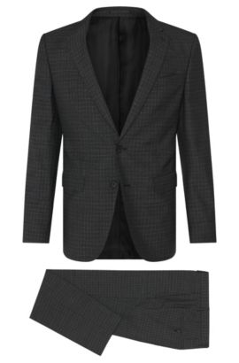 Subtly checked slim-fit suit in new wool: 'Novan3/Ben', Black