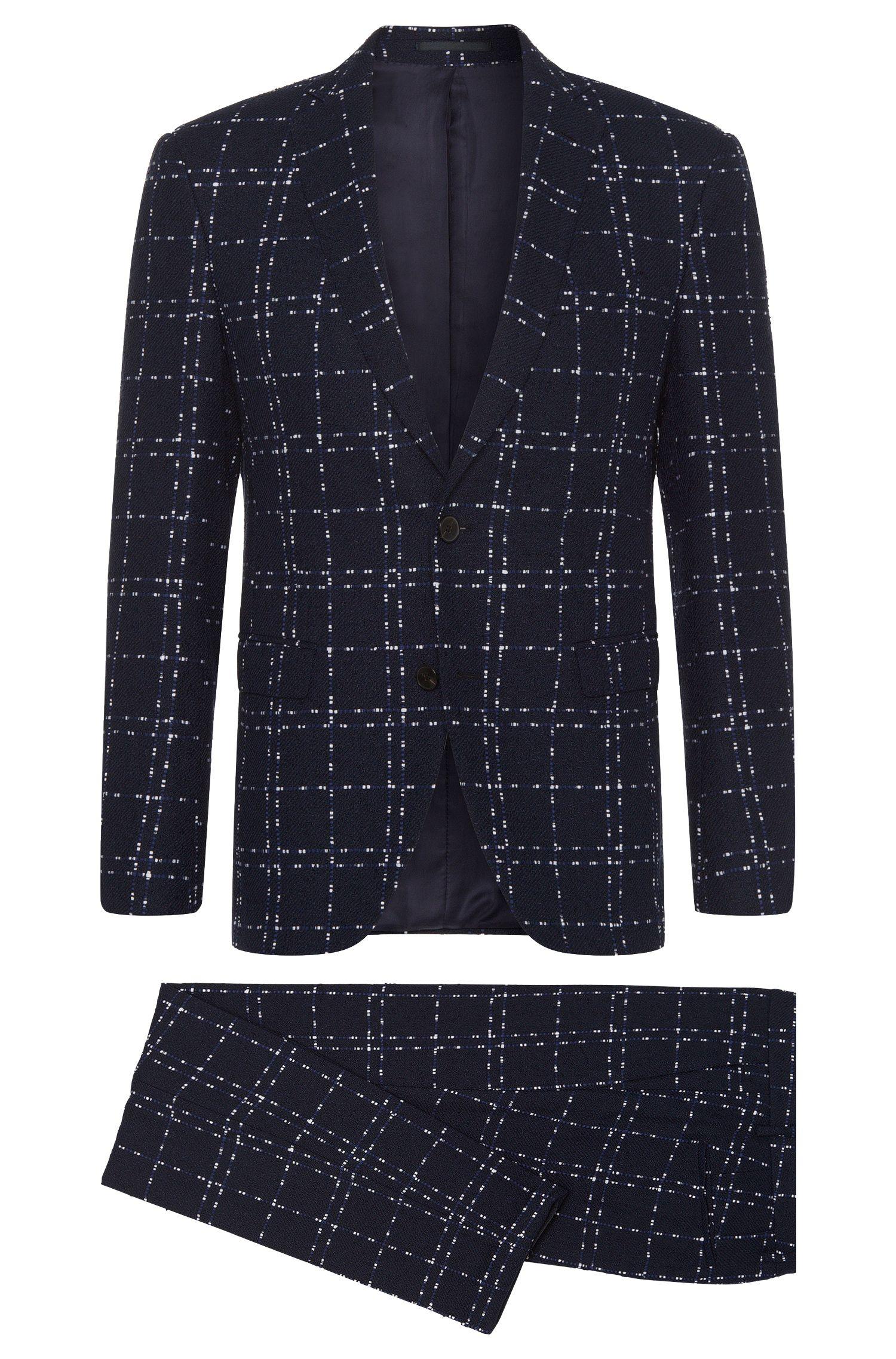 Gemusterter Extra Slim-Fit Anzug aus Leinen-Mix mit Baumwolle: 'Reyno3/Wave1'