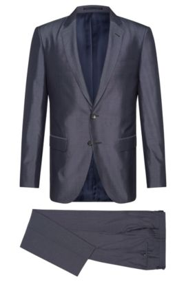Slim-fit Tailored suit in pure silk: 'T-Harvers2/Glover1', Dark Blue