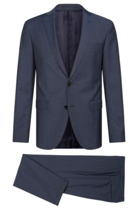 Extra slim-fit suit in new-wool blend with mohair: 'Reyno3/Wave1', Dark Blue