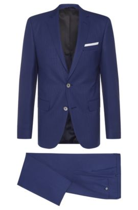 Slim-fit suit in textured new wool: 'Hutson4/Gander1', Blue