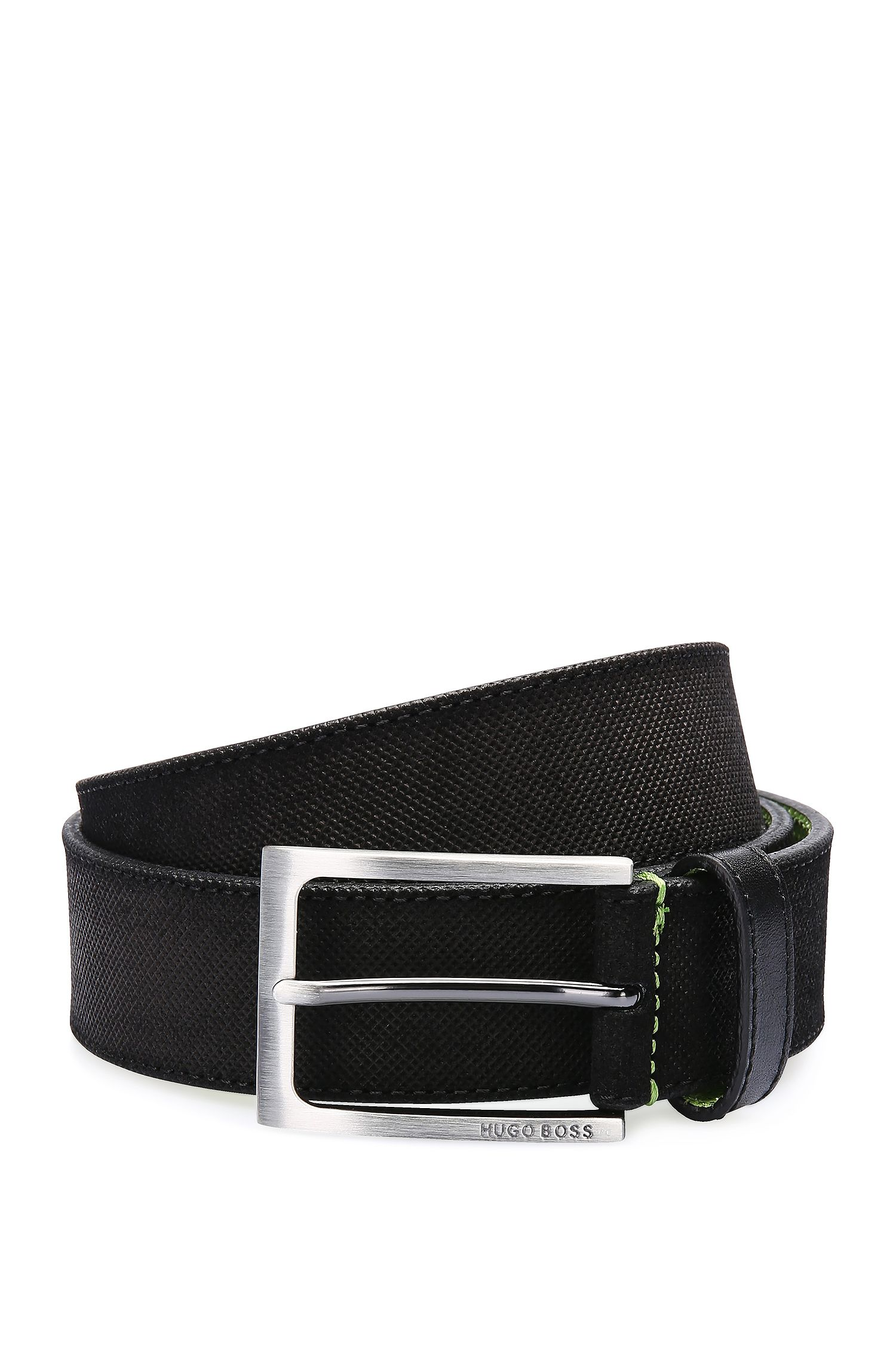 Finely embossed leather belt with contrast interior: 'Tobsy_Sz35_sdem'