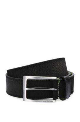 Cinturón de piel con repujado fino y cara interior en contraste: 'Tobsy_Sz35_sdem', Negro