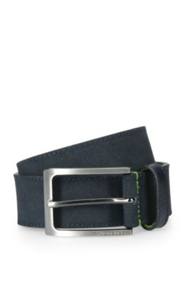 Finely embossed leather belt with contrast interior: 'Tobsy_Sz35_sdem', Dark Blue