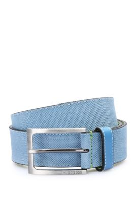 Finely embossed leather belt with contrast interior: 'Tobsy_Sz35_sdem', Blue