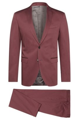 Extra slim-fit suit in stretch cotton: 'Reyno3/Wave1', Pink