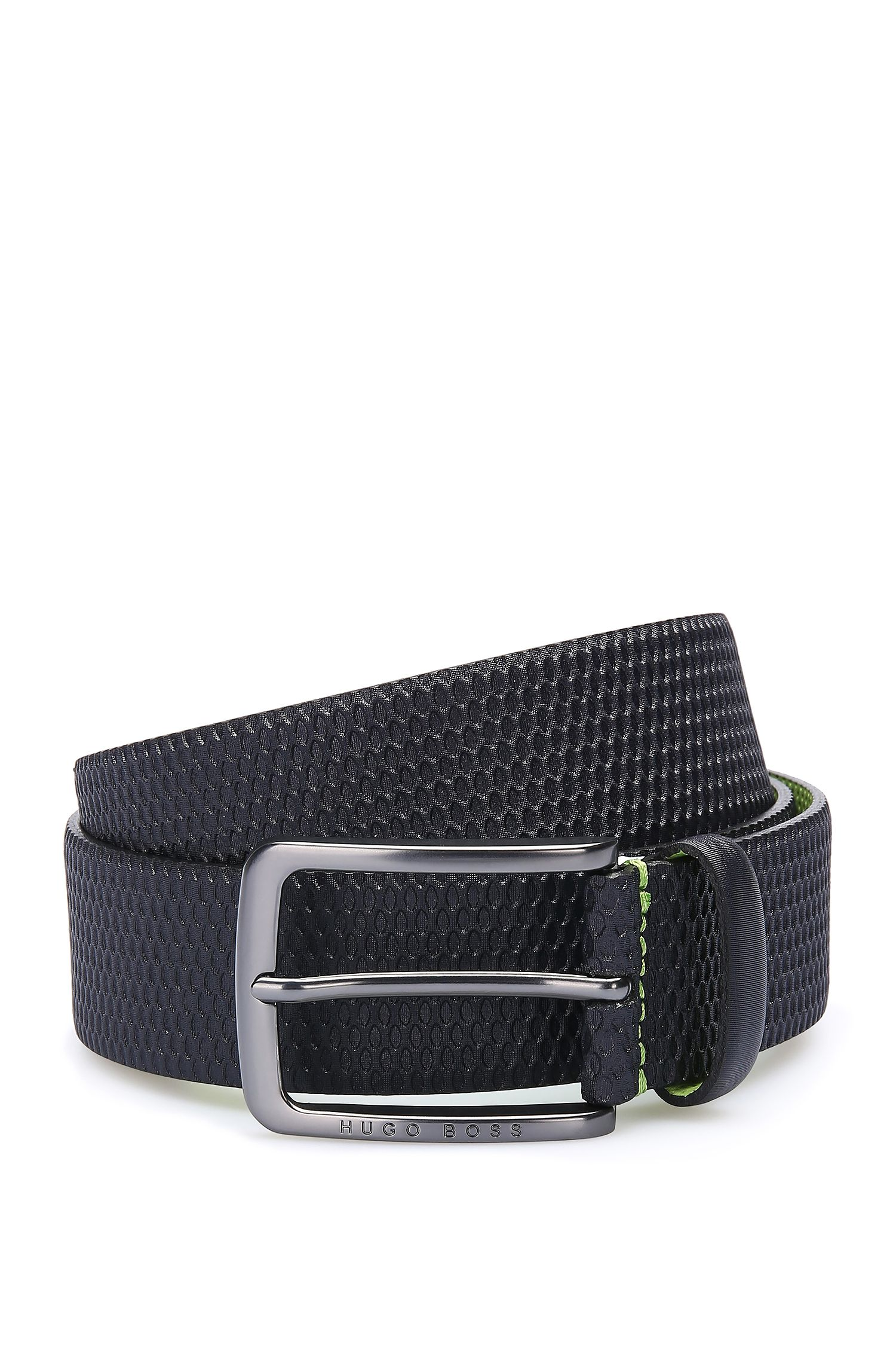Leather belt with embossed detail