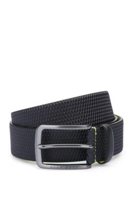 Leather belt with embossed detail, Dark Blue