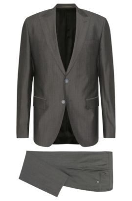 Slim-fit suit in new-wool blend with silk: 'Hadwyn/Grane', Dark Grey
