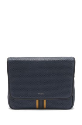 Shoulder bag in textured leather: 'Future_Mess flap', Dark Blue