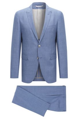 Slim-fit Tailored suit in new wool blend with linen and silk: 'T-Nebil/Bent', Blue