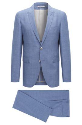 Slim-Fit Tailored Anzug aus Schurwoll-Mix mit Leinen und Seide: 'T-Nebil/Bent', Blau