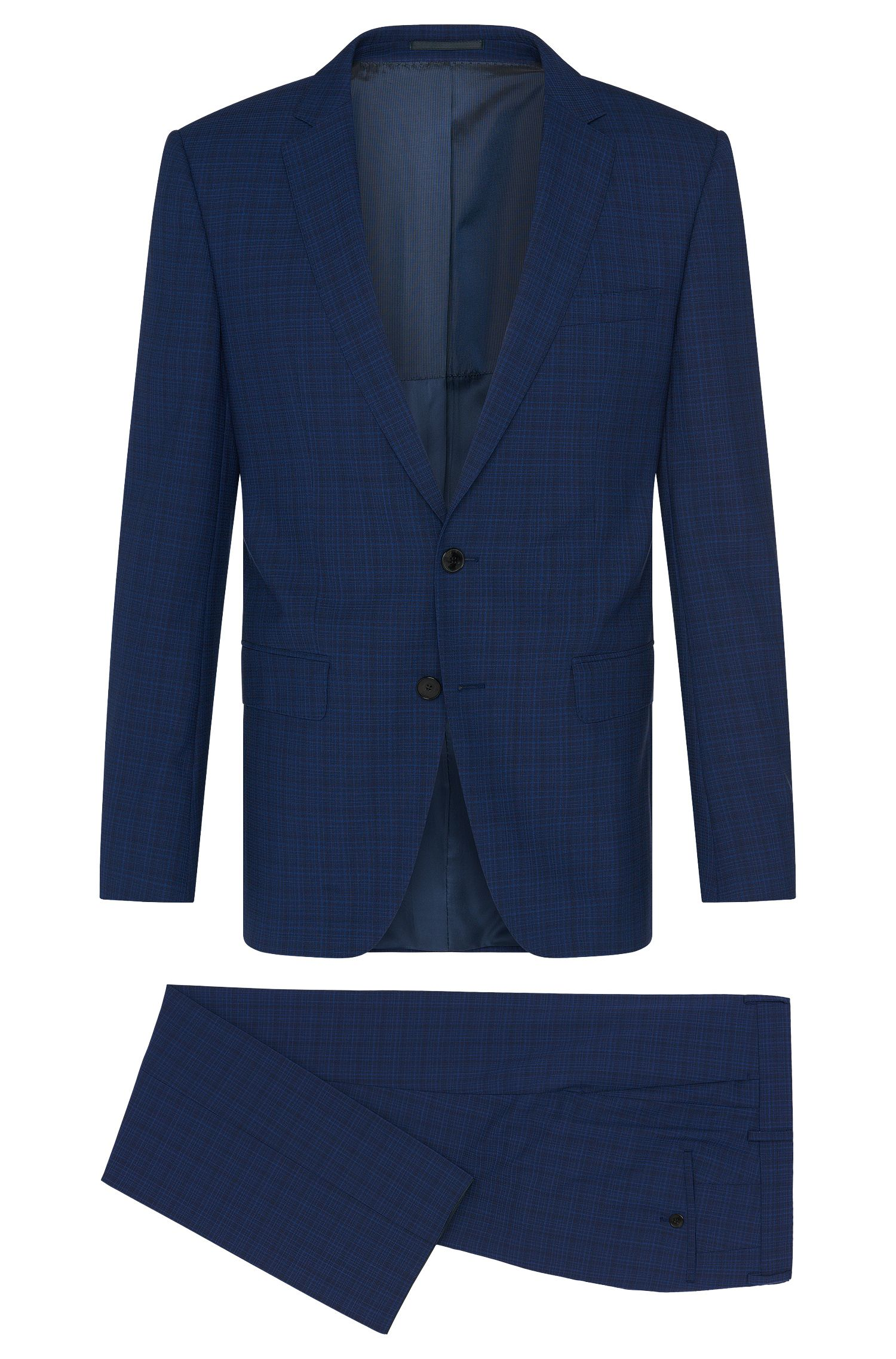 Abito slim fit a quadri raffinato in pura lana vergine: 'Huge5/Genius3'