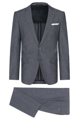 Slim-fit suit in stretch cotton with mother-of-pearl buttons: 'Hedson3/Gander1', Anthracite
