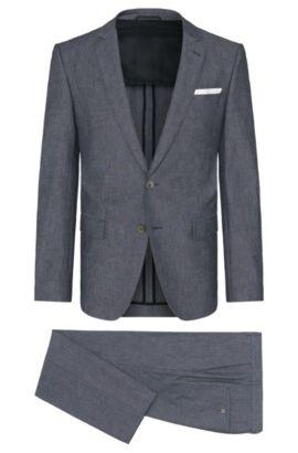 Costume Slim Fit en coton mélangé stretch à boutons en nacre: «Hedson3/Gander1», Anthracite
