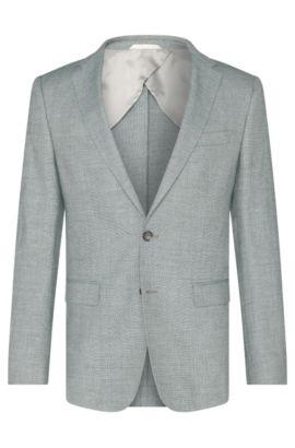 Veste de costume Slim Fit en laine vierge mélangée à du lin: «Nobis2», Vert