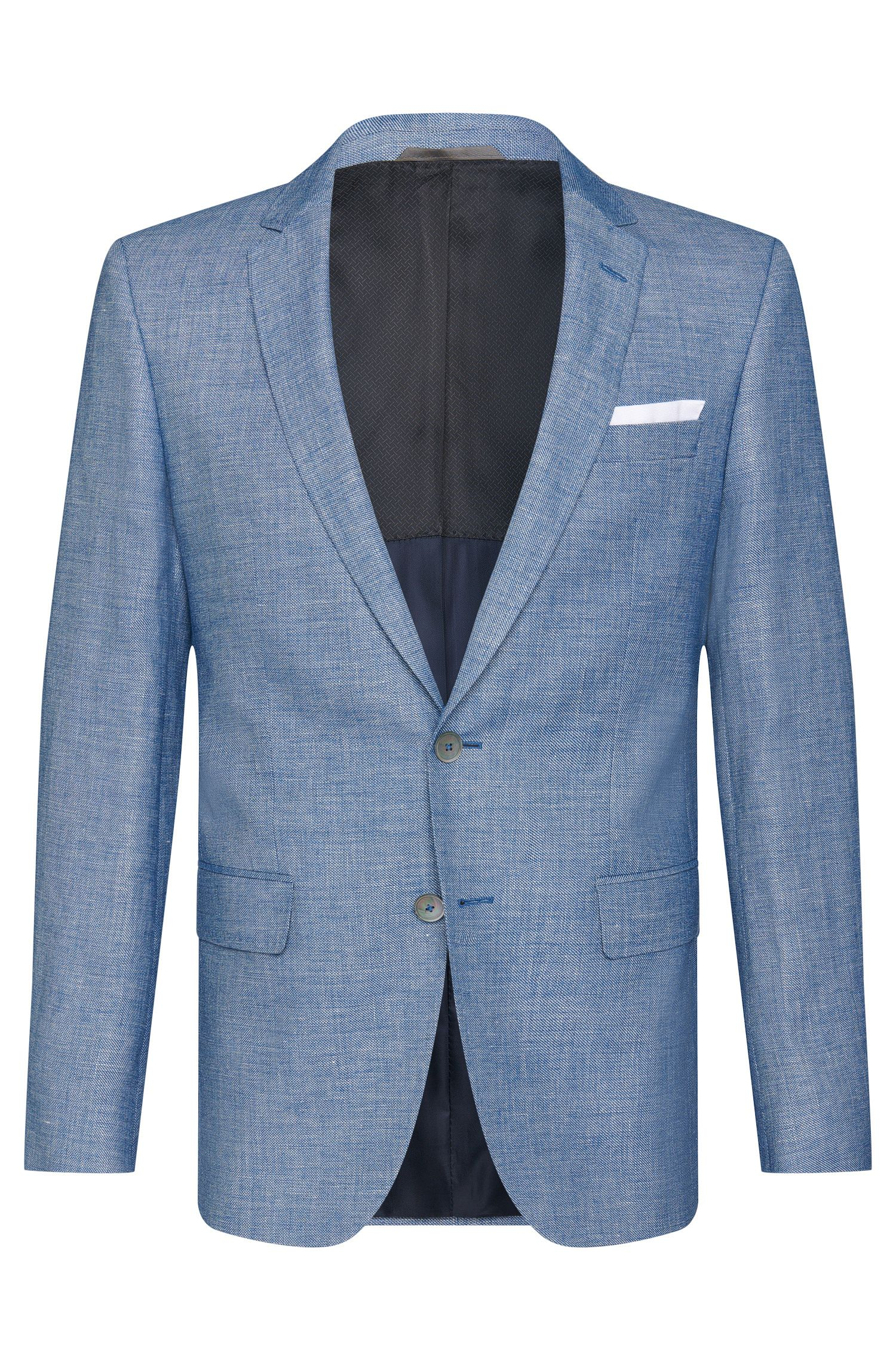 Mottled slim-fit jacket in new wool blend with linen: 'Hutsons3'