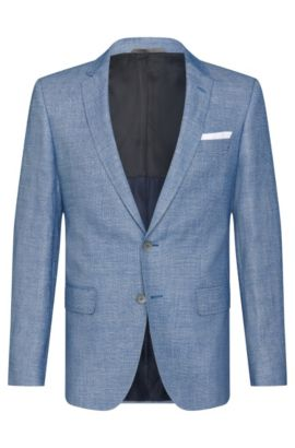 Mottled slim-fit jacket in new wool blend with linen: 'Hutsons3', Blue