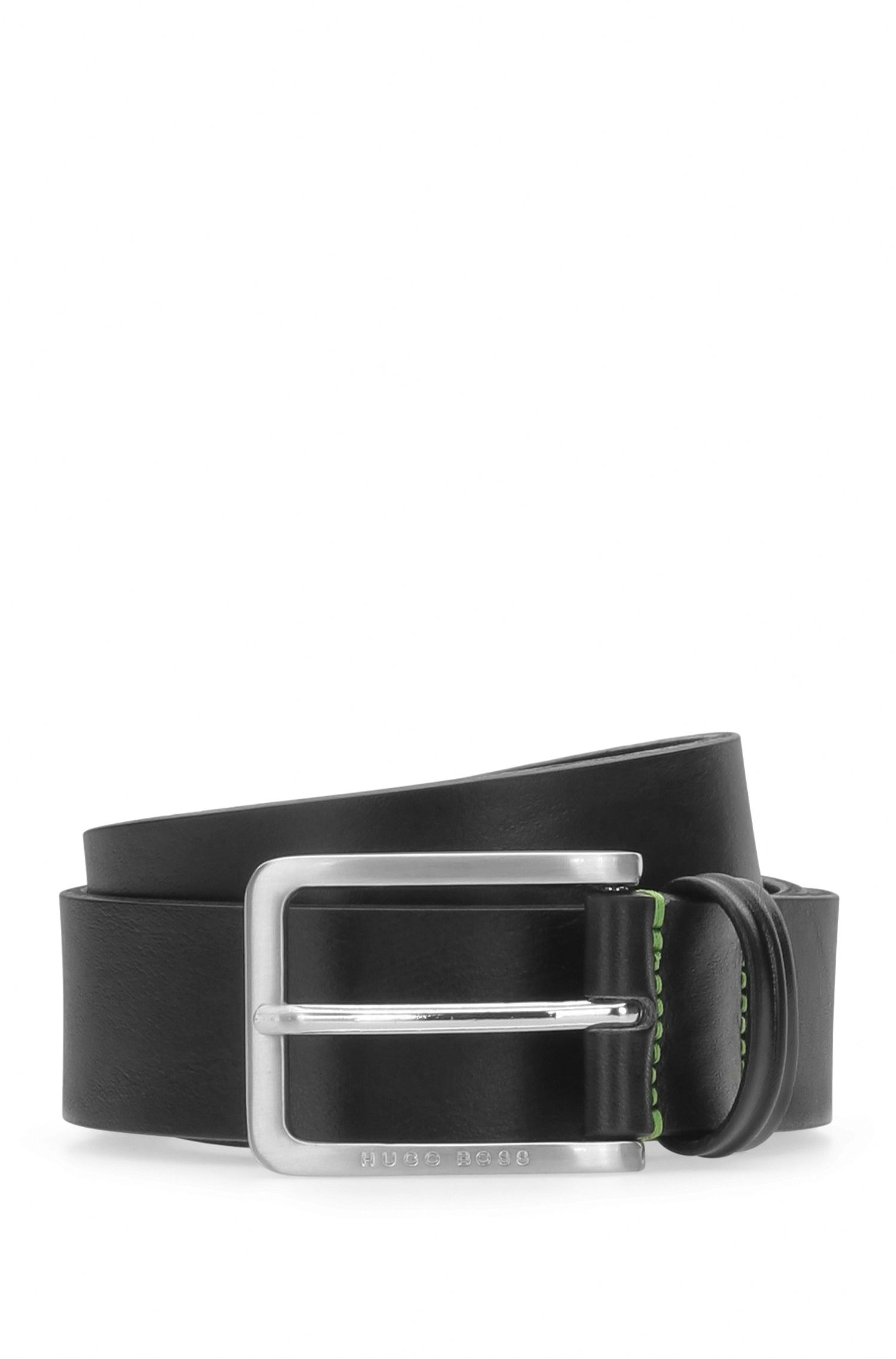 Grained leather belt with contrast stitching: 'Teseo_Sz35_ltpl'