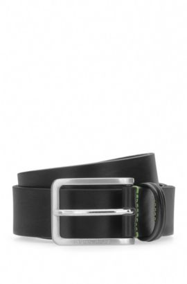 Grained leather belt with contrast stitching: 'Teseo_Sz35_ltpl', Black