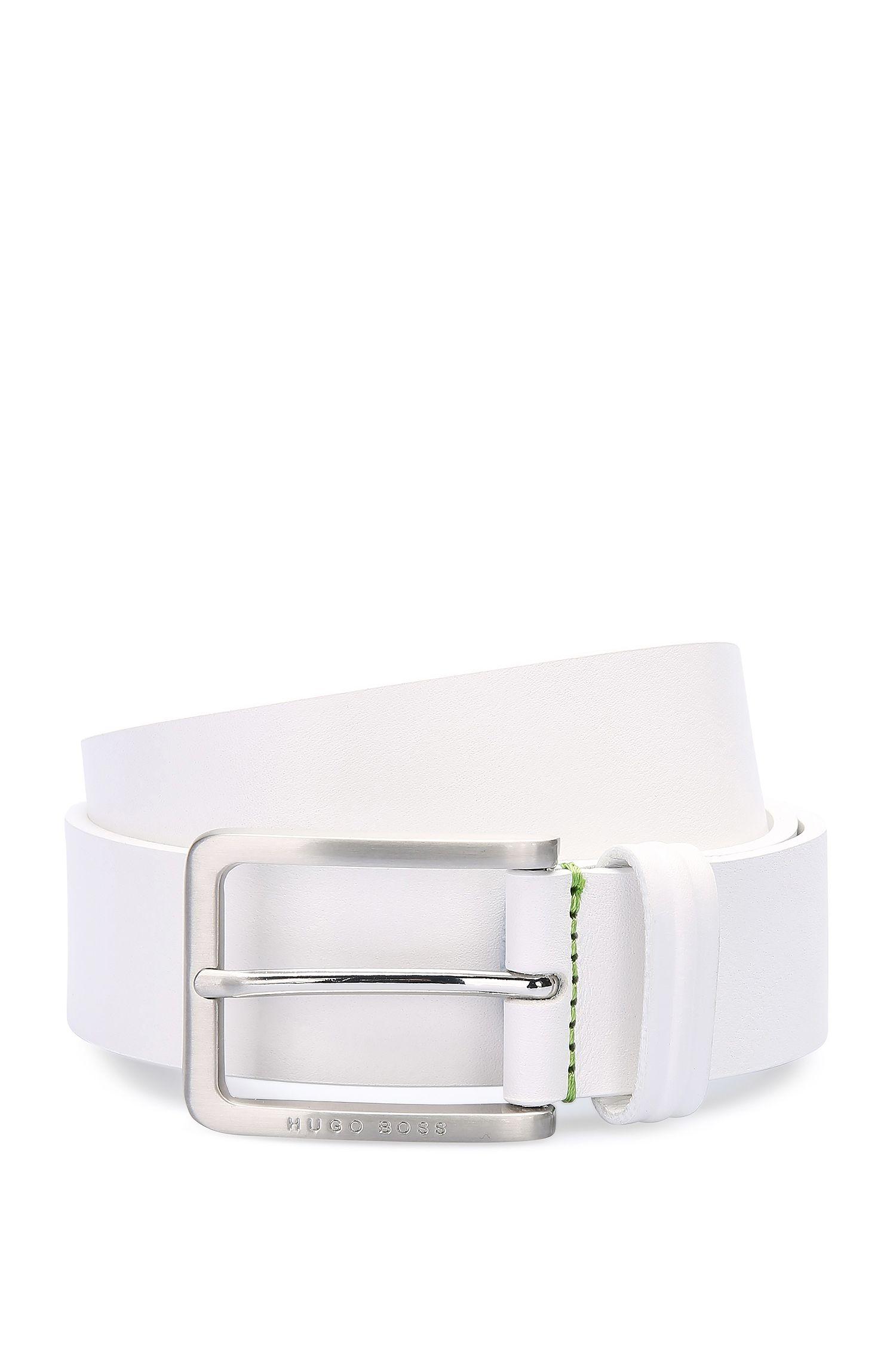Cinturón de piel con grano y pespuntes en contraste: 'Teseo_Sz35_ltpl'