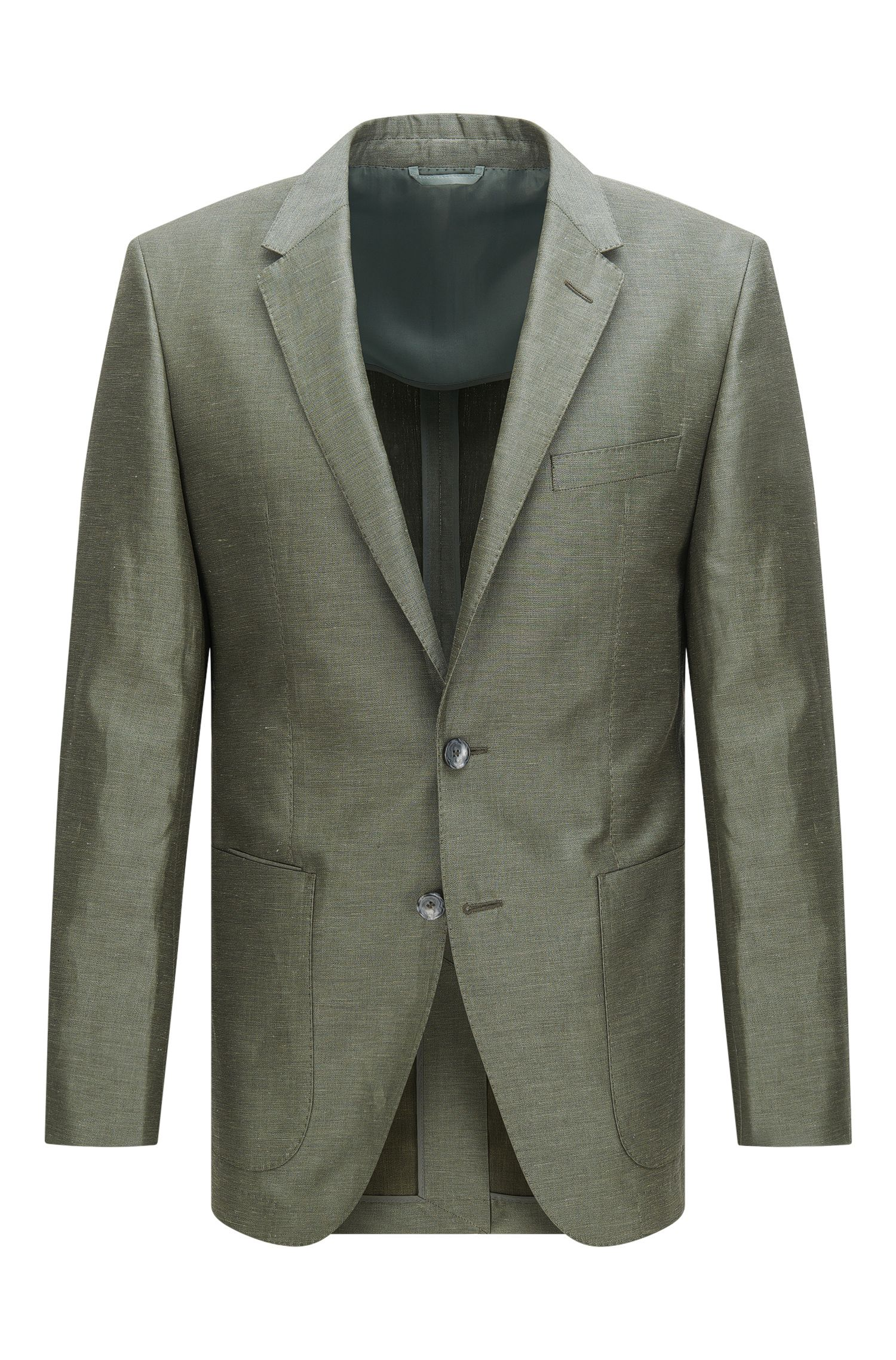 Slim-fit Tailored jacket in linen blend with silk and cotton: 'T-Hanley'