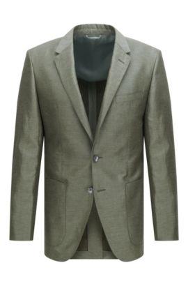 Slim-Fit Tailored Sakko aus Leinen-Mix mit Seide und Baumwolle: 'T-Hanley', Dunkelgrün