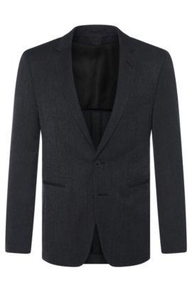 Extra slim-fit Tailored jacket in new-wool blend with mohair: 'T-Renan', Black