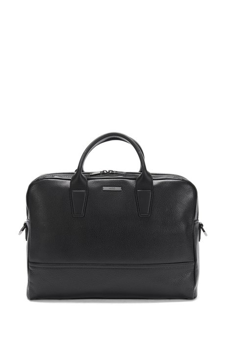 Leather bag with 2 main compartments: 'Element_D doc', Black
