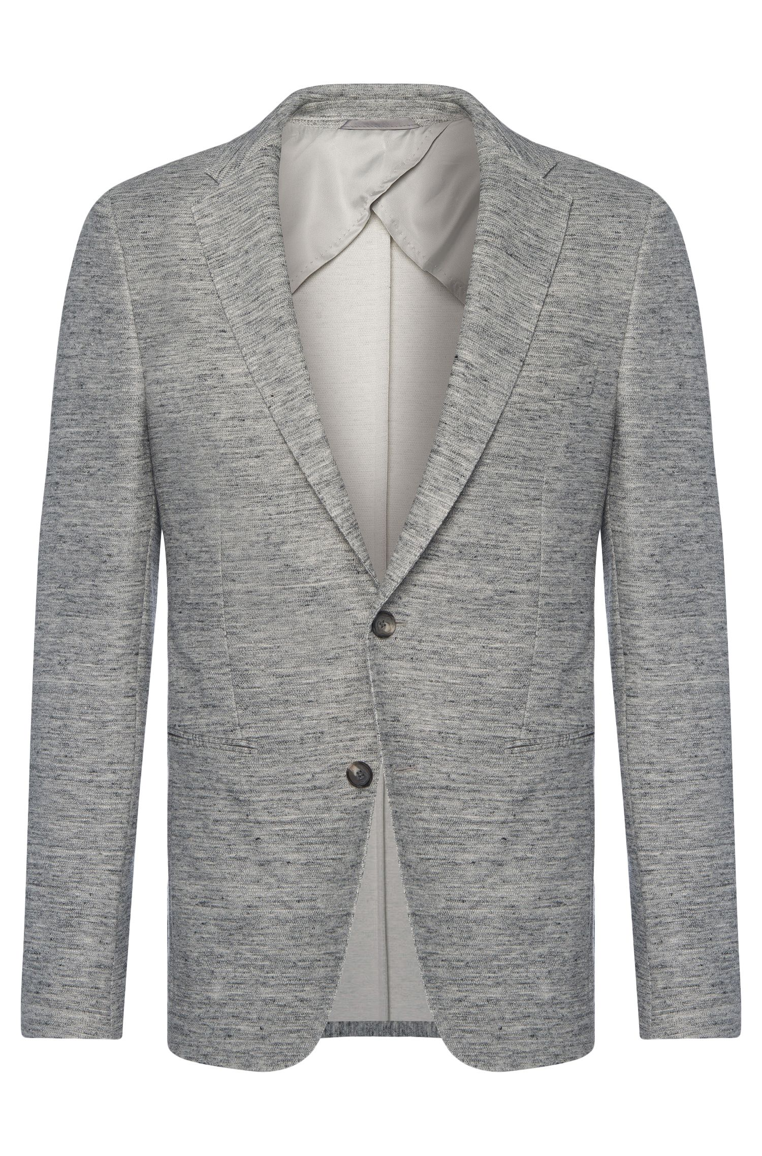 Mottled slim-fit jacket in cotton blend with linen: 'Norwin1'