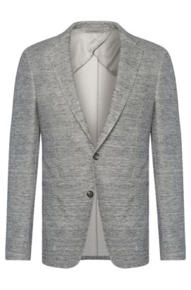 Mottled slim-fit jacket in cotton blend with linen: 'Norwin1', Open Grey